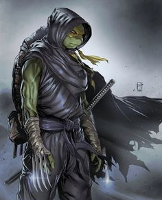 A determined ninja turtle seeks justice for his brothers who have been captured in battle Teenage Ninja Turtles, Ninja Turtles Art, Thundercats, Foto Top, Black Anime Characters, Creation Art, Love Warriors, Samurai Art, Arte Pop