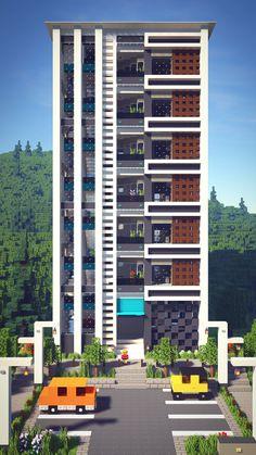 Minecraft Skyscraper, Minecraft Modern City, Villa Minecraft, Minecraft City Buildings, Minecraft Mansion, Minecraft Structures, Cute Minecraft Houses, Minecraft Houses Blueprints, Minecraft Architecture