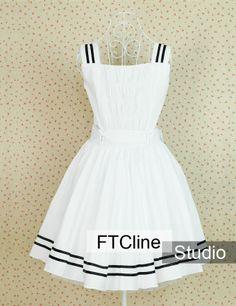White Cotton Black Straps Gothic Lolita Dress