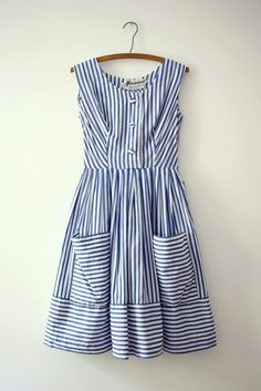 Cute, Modest, Blue Stripe Dress...Summa time!