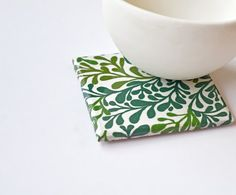 Ceramic Coasters Plant Life Succulents Green Leaves by Tilissimo Ceramic Coasters, Tile Coasters, Interior Design Process, Paper Decorations, Paper Napkins, Hostess Gifts, Shades Of Green, Coaster Set, Green Leaves
