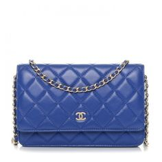 CHANEL Lambskin Quilted Wallet On Chain WOC Dark Blue ❤ liked on Polyvore featuring bags, wallets, magnetic wallet, chanel wallet, chain strap shoulder bag, quilted shoulder bags and chain wallet