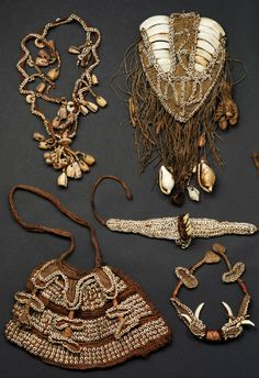 Papua New Guinea | Collection of ornaments from the late 19th century | Shells, teeth, fiber  || May 2014 Catalogue ~ POR