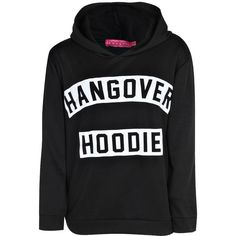 Boohoo Plus Rochelle Hangover Slogan Oversized Hoodie featuring polyvore fashion clothing tops hoodies sweaters outerwear shirts hooded sweatshirt sleeve shirt polyester shirt oversized tops flat top