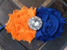 Orange & Blue headband for baby girl.