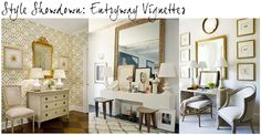 While pinning away the other day, I noticed I had pinned three vignettes that were similar in color palette and design elements. Entry Mirror, Building A House, Build House, Vignettes, Interior Inspiration, Home Goods, Entryway, Vanity, Foyers