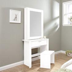 Sliding Door Dressing Table Set with Mirror White Vanity Wood Bedroom Furniture Arranging Bedroom Furniture, Small Bedroom Furniture, Trendy Furniture, Furniture Layout, Furniture Decor, Bedroom Decor, Bedroom Ideas, Tocador Vanity, Shabby Chic Master Bedroom