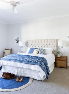 An upholstered bedhead gives this bedroom classic elegance. Photography: Elouise Van Riet Gray / Styling: Lana Caves. http://www.queenslandhomes.com.au/hamptons-style-australian-twist/
