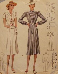 ||||||||||||via Debora McFearin||||||||||dress pattern 1940s  Boxy period dress with shirtdress silhouette