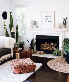 boho living room with plants and adorable pouf. Cozy boho living room with plants and adorable pouf. Boho Chic Living Room, Boho Room, Bohemian Living, Cozy Living, Small Living, Bohemian Beach, Indie Living Room, Living Room Decor Unique, Moroccan Decor Living Room