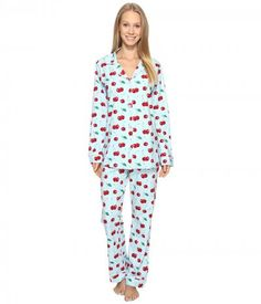 BedHead - Long Sleeve Classic Pajama Set (Cherry Hearts) Women's Pajama Sets
