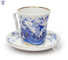 Picture of Russian Troika Cobalt Mug and Saucer