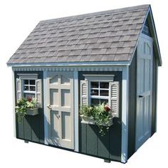 "Perfect for backyard fun, this charming playhouse showcases a cottage-inspired silhouette. Crafted from wood, this lovely design offers 2 windows with flower boxes and 2 doors.  Product: PlayhouseConstruction Material: Wood and glassColor: Gray and whiteFeatures: 380 Cubic feet  Dimensions: 104"" H x 97"" W x 81"" DNote: Assembly required. Additional hardware and tools required. Cleaning and Care: Use mild soap and water to clean. Keep roof clean of snow, leaves, and debris. Inspect at regular…"