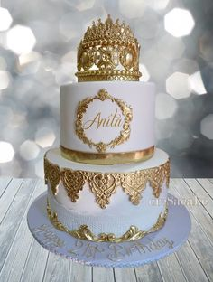 Gold & White Birthday Cake Best Picture For birthday cake flavors For Your Taste You are looking for something, and it is going to tell you exactly what you are looking for, and you didn't find t Elegant Birthday Cakes, Birthday Cakes For Men, Birthday Cake Crown, White Birthday Cakes, Birthday Cake Flavors, Beautiful Birthday Cakes, Homemade Birthday Cakes, Men Birthday, 16th Birthday