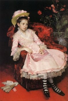 The Athenaeum - Portrait of a young girl in pink dress (Raimundo de Madrazo y Garreta - No dates listed)