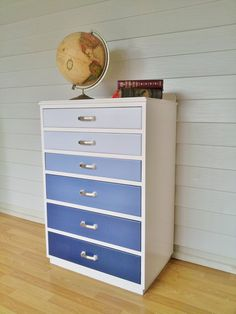 upcycled painted ombre chest of drawers. DIY furniture redo