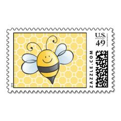 Yellow Bumble Bee Postage Stamp. This is customizable to put a personal touch on your mail. Add your photos or text to design your own stamp that can be sent through standard U.S. Mail. Just click the image to try it out!