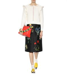 mytheresa.com - Embroidered cotton and silk-blend skirt - Luxury Fashion for Women / Designer clothing, shoes, bags