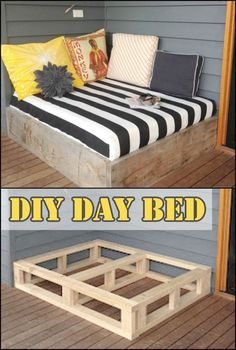 You'll definitely enjoy spending more time outdoors than in your bedroom when you have a daybed like this on your porch or deck! Is this going to be your next DIY project? diy outdoor Make a day bed from reclaimed timber Diy Home Decor Projects, Easy Diy Projects, Decor Ideas, Decor Diy, Diy Ideas, Decor Crafts, Diy Crafts, Diy Projects For Your Bedroom, Project Ideas