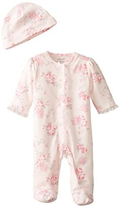 afb020ac0ab3 Little Me Baby-Girls Scroll Rose Footie and Hat