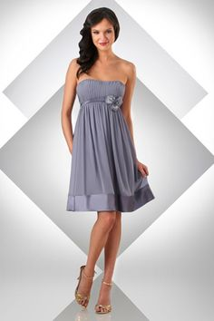 Bari Jay Short Chiffon Bridesmaid Dress with Flowers 328 at frenchnovelty.com