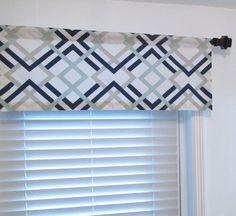 Window Topper Navy/Light Blue/Grey Geometric Curtain by OldStation