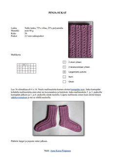 Pinja-sukat naisen villasukat pitsisukat nalle Knitting Socks, Knitting Stitches, Knit Socks, Yarn Colors, One Color, Google Drive, Slippers, Letters, Pdf