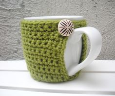 Sage Green Mug Cozy Crochet Cup Cozy Eco-Friendly Reusable by LanadeAna on Etsy https://www.etsy.com/listing/82597119/sage-green-mug-cozy-crochet-cup-cozy-eco