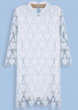 White Long Sleeve Hearts Embroidered Lace Dress