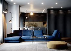 Blue and yellow home decor inspiration. Two examples of the blue and yellow interior trend; one light grey, blue & yellow interior, and one moody dark interior. Apartment Interior, Interior Design Living Room, Living Room Designs, Interior Decorating, Luxury Interior Design, Modern Interior, Interior Architecture, Luxury Furniture, Furniture Design