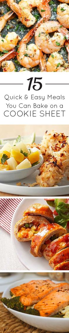 If you appreciate the magic of the one-pot cooking, you'll love this collection of quick and easy sheet pan recipes. From roasted salmon with broccoli and cauliflower to turkey meatloaf pockets to coconut chicken, you'd be amazed at the meals you can whip up on a single cookie sheet!  Got a favorite? Share it! Click for the full list.  #dinnertime #homecooking #easyrecipes #familydinner #fish #beef #shrimp #baking
