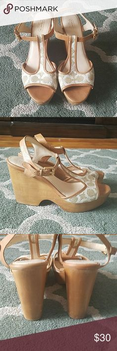 COACH Allie Wedges Sz 9 1/2 Good condition with wear as shown Coach Shoes Wedges