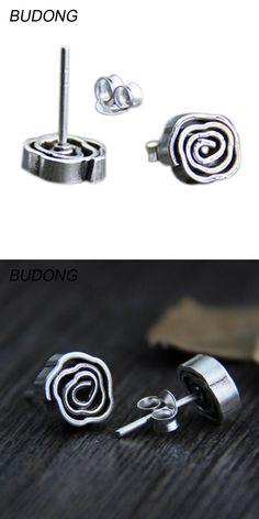 BUDONG Genuine 925 Sterling Silver Earring for Women Fine Jewelry Handmade Screw Rose Flower Retro Silver Stud Earring Jewel