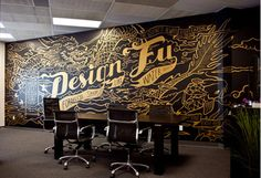 "escapekit: "" Design Fu Mural Yiu Studio has created a new mural for their office. The design fuses their love of Kung Fu and quotes they embrace, which they've in turn dubbed, ""Design Fu"" "" Office Mural, Office Walls, Office Art, Deco Restaurant, Restaurant Design, Mural Art, Wall Murals, Office Space Design, Tattoo Und Piercing"