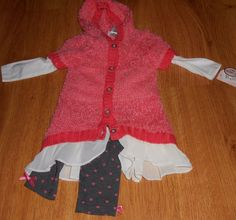 Little Lass  24m 3 Piece Outfit Coral Black White Hearts  #LittleLass #Everyday