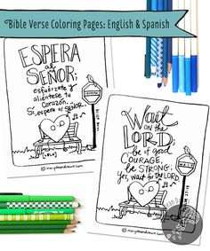 FREE Bible Verse Coloring Pages Head over to marydeandraws.com and download FREE Bible verse coloring pages in English and Spanish!