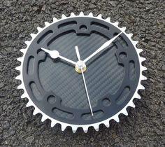 BMX gear wall clock cycling wall workshop clock - Silver & black carbon fiber OOAK guys bike gift: