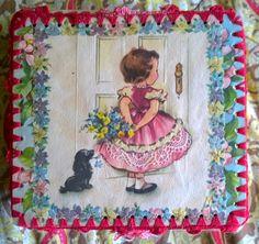 Vintage Handmade Keepsake Box:  Christmas/Holiday Themed - Mixed Media Crocheted by TheBusyTipsyGipsy on Etsy