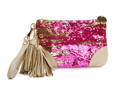 DEUX LUX - Lots of cool handbags w leather and sequins. This wristlet's reversable sequin exterior is a fun twist on a classic deux lux style!   Zip closure and satin polyester lining.       Price: $41.00