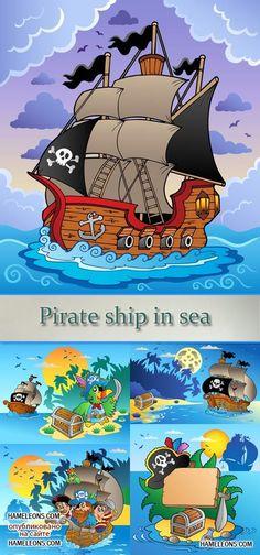 Пираты и корабль - векторный клипарт | Pirate and ship vector