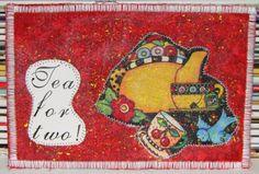Tea for two fabric postcard