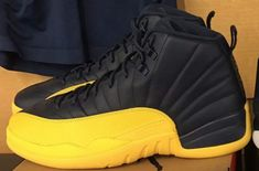 Air Jordan 12 Retro Michigan PEs for Big Blue. Should Jordan release these? Nike Air Jordans, Cute Jordans, Black Jordans, Air Jordan Sneakers, Womens Jordans, Pink Jordans, Retro Jordans, Jordan Swag, Jordan 12s
