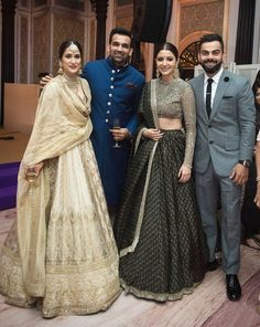 Anushka Sharma Black Lehenga Is Perfect For BFF'S Wedding And Reception. Indian Groom Wear, Indian Wedding Wear, Indian Bridal Outfits, Indian Designer Outfits, Indian Attire, Indian Wear, Indian Weddings, Pakistani Outfits, Indian Lehenga