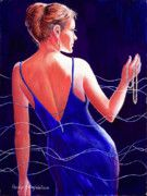 "Title:  Sapphire, Pearls, and a Smile.  A woman in the spotlight wearing sapphire blue, pearls and the hint of a smile.  This watercolor painting was accepted into the 2011 exhibit of Watercolor USA, a national competitive watercolor show.  Notice my ""life interlacings"" in this painting."