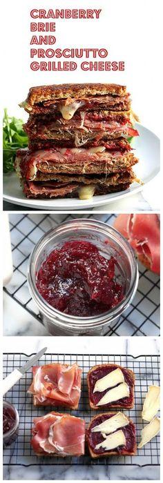 sandwich de queso a la parrilla con arandano y jamon