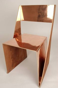 Plywood Stackable Chair by Tobias Labarque. Beautifully executed and jolly good combining the copper and the plywood veneer.