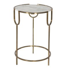 Natural stone creates a sense of timeless beauty in this elegant accent table. Finished in antique gold, the refined base supports a round white marble top for a design of utter distinction.