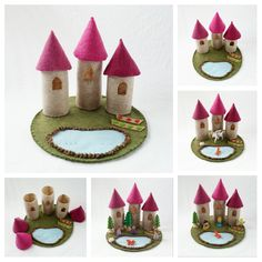 Three Turret Castle Playscape Play Mat pretend storytelling fantasy fairytale storybook open-ended princess felt Mixed Media Imagination by MyBigWorld2015 on Etsy