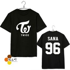 Kpop new idol twice member name printing black t shirt kpop fans supportive summer short sleeve t-shirt plus size cotton tees