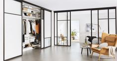 3 anledningar att välja topphängda dörrar | ELLE Decoration Style At Home, Compact Living, Door Wall, Home Fashion, Minimalist Design, Modern Contemporary, Shabby Chic, New Homes, Living Room